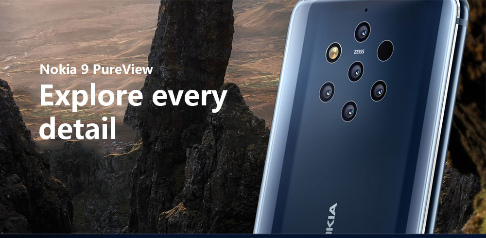Nokia 9 PureView 4G Phablet 5.99 inch Android 9 Pie Snapdragon 845 Octa Core 6GB RAM 128GB ROM 5 x 12.0MP Rear Camera 3320mAh Battery- Blue
