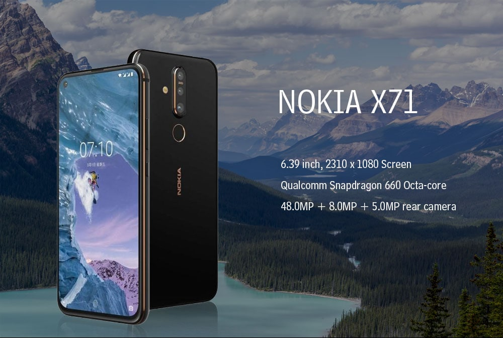 NOKIA X71 4G Phablet 6.39 inch Plate-forme OS ( Android 9.0 ) Qualcomm Snapdragon 660 Octa-core 2.2GHz 6GB RAM 128GB ROM 16.0MP Front Camera Fingerprint Sensor 3500mAh Built-in  - Black