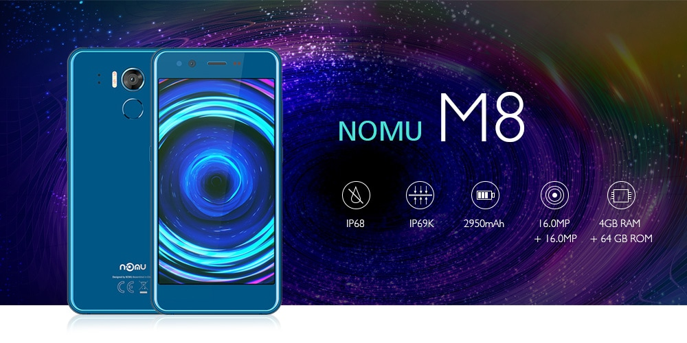 NOMU M8 4G Smartphone 5.2 inch Android 7.0 MTK6750T Octa Core 1.5GHz 4GB RAM 64GB ROM 16.0MP Rear Camera 2950mAh Battery- Gray