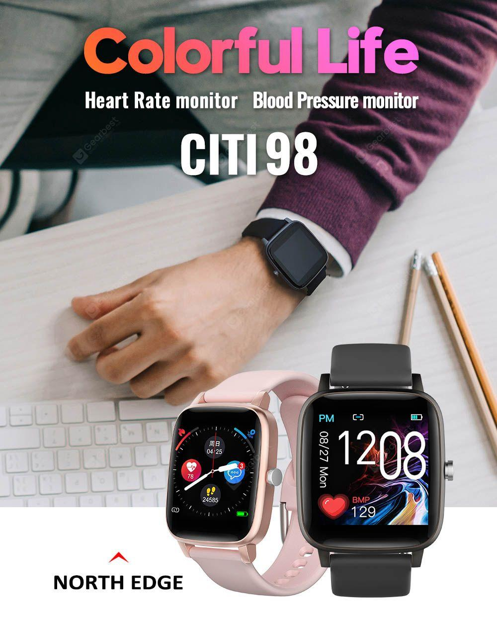 NORTH EDGE CITI-98 Full-color Touch Screen Bluetooth Smart Sports Watch Multifunction Rate-pressure Oxygen Smart Bracelet Smart Wristband - Pink