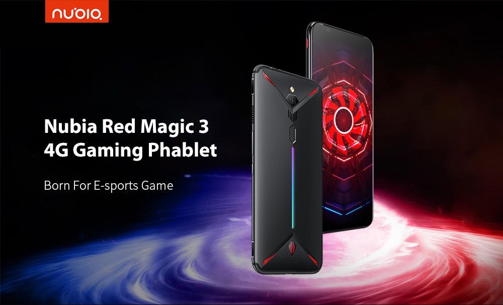 Nubia Red Magic 3 4G Gaming Phablet International Version 6.65 inch Android 9.0 Snapdragon 855 Octa Core 8GB RAM 128GB ROM 48.0MP Rear Camera 5000mAh Battery- Black