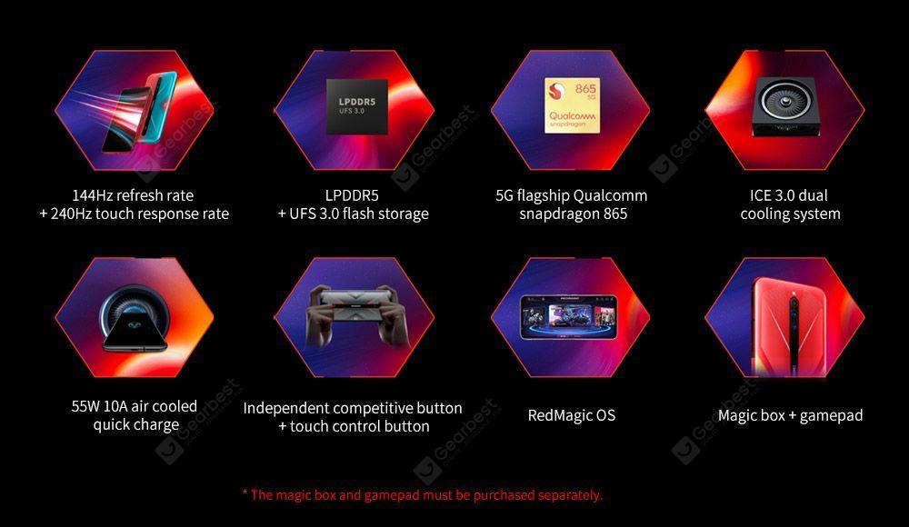 NUBIA RedMagic 5G Game 8-core Snapdragon 865 Phone 12GB 256GB 6.65 inch RedMagic OS Camera 64MP + 8MP + 2MP 4500mAh Battery Capacity- Multi-A