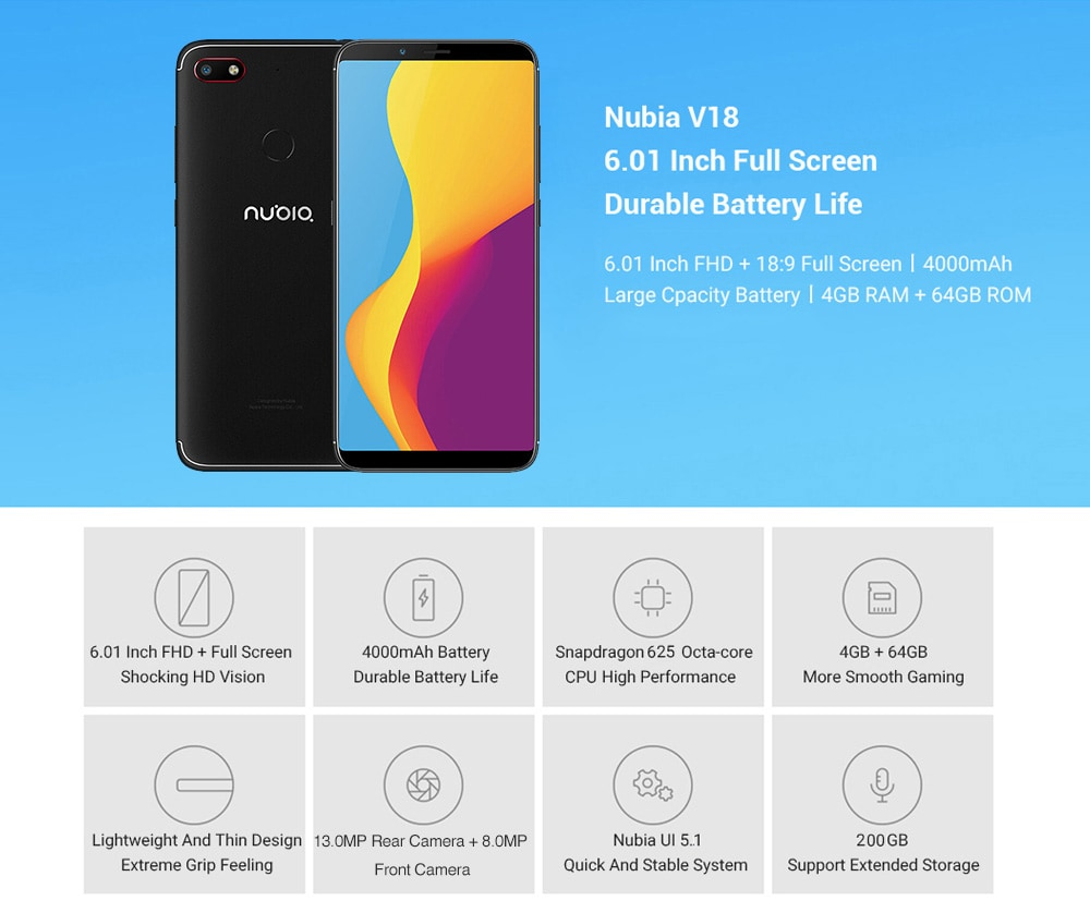 Nubia V18 4G Phablet 6.01 inch Nubia UI 5.1 ( Android 7.1 ) Qualcomm Snapdragon 625 Octa Core 2.0GHz 4GB RAM 64GB ROM 13.0MP Rear Camera Fingerprint Sensor 4000mAh Built-in - Black