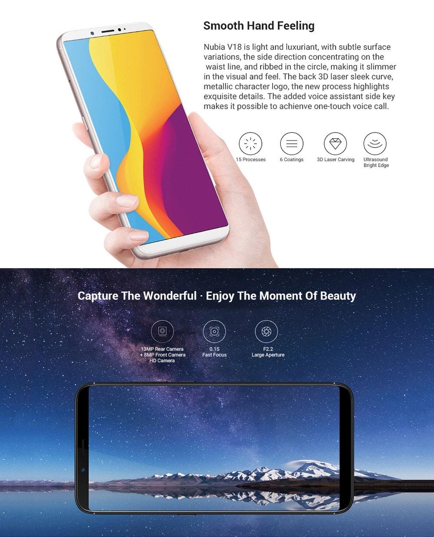 Nubia V18 4G Phablet 6.01 inch Nubia UI 5.1 ( Android 7.1 ) Qualcomm Snapdragon 625 Octa Core 2.0GHz 4GB RAM 64GB ROM 13.0MP Rear Camera Fingerprint Sensor 4000mAh Built-in - Black