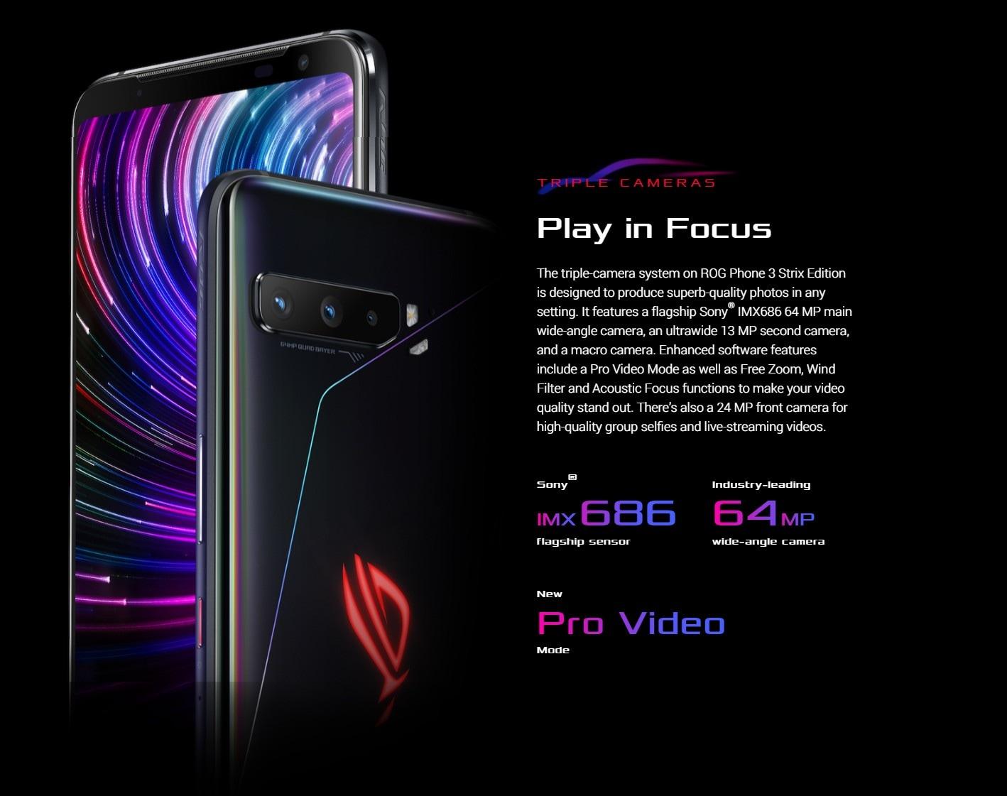 ASUS ROG Phone 3 Gaming 5G Smartphone Cameras