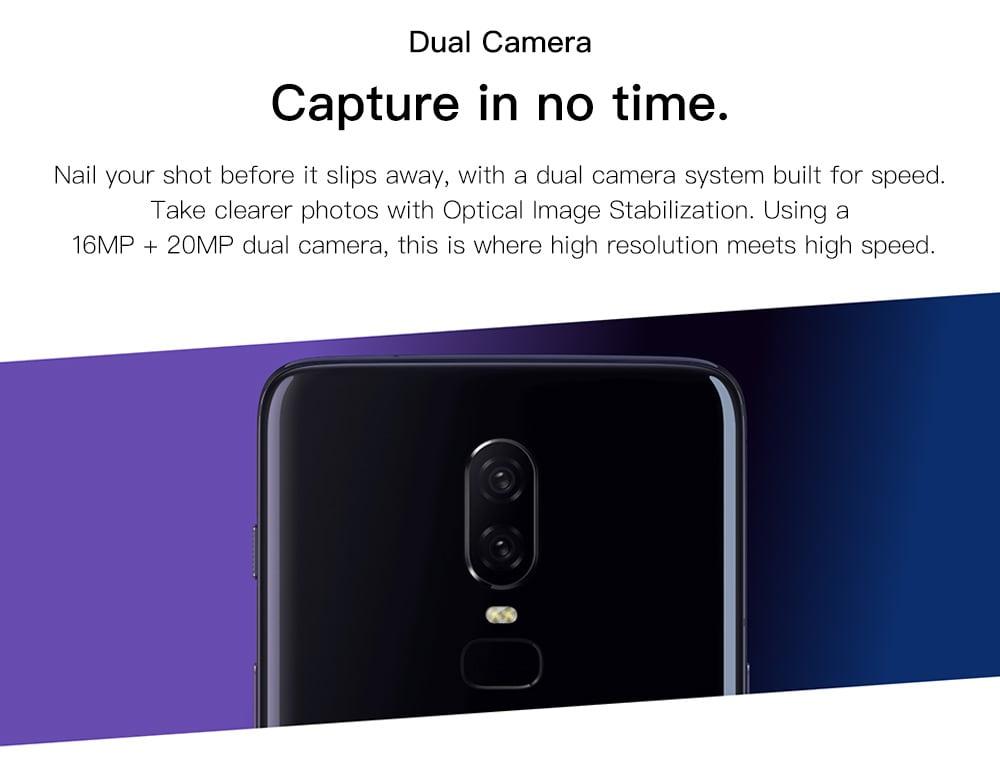 OnePlus 6 4G Phablet 6.28 hüvelykes Android 8.1 Snapdragon 845 Octa Core 2.8 GHz 8 GB RAM 128 GB ROM 16.0 MP + 20.0 MP Hátsó kamera 3300mAh Beépített ujjlenyomat-szkenner - Selyemfehér