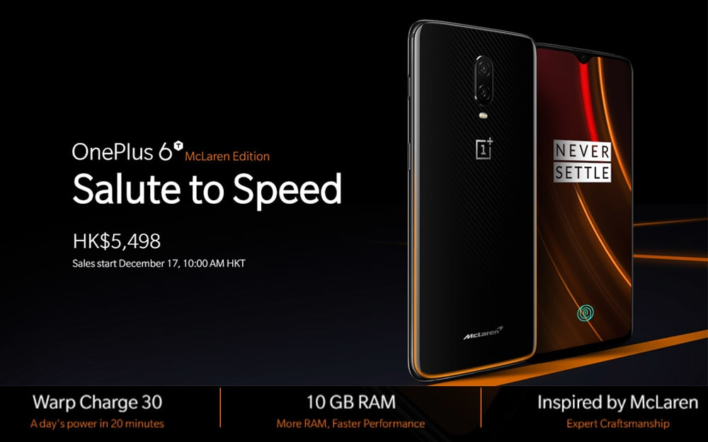 OnePlus 6T McLaren 4G Phablet 6.41 inch H2 OS ( Android 9.0 ) Snapdragon 845 Octa Core 2.8GHz 10GB RAM 256GB ROM 16.0MP + 20.0MP Rear Camera Fingerprint Sensor 3700mAh Built-in - Orange