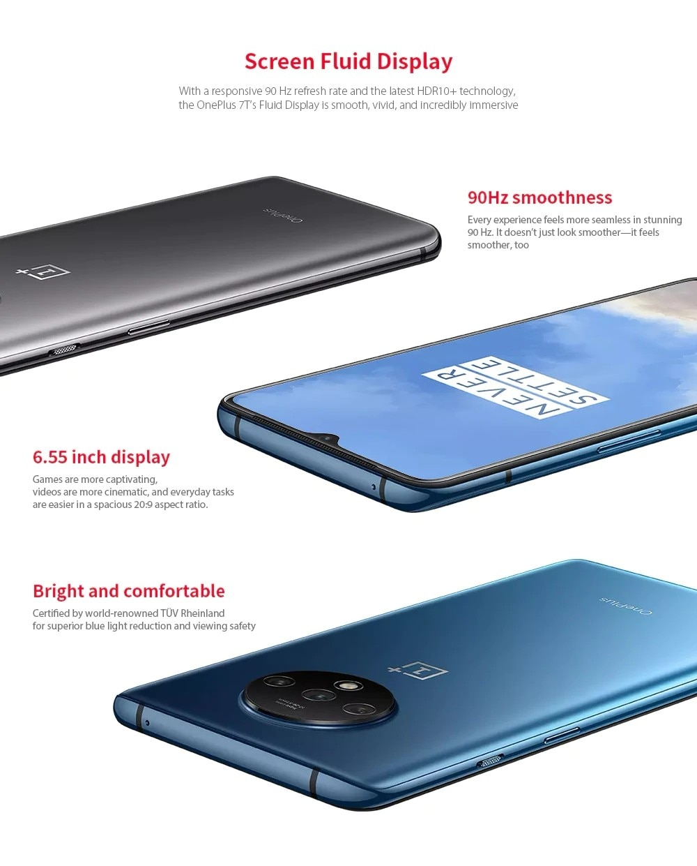 Oneplus 7T 4G Phablet 8GB RAM 256GB ROM - Blue Gray