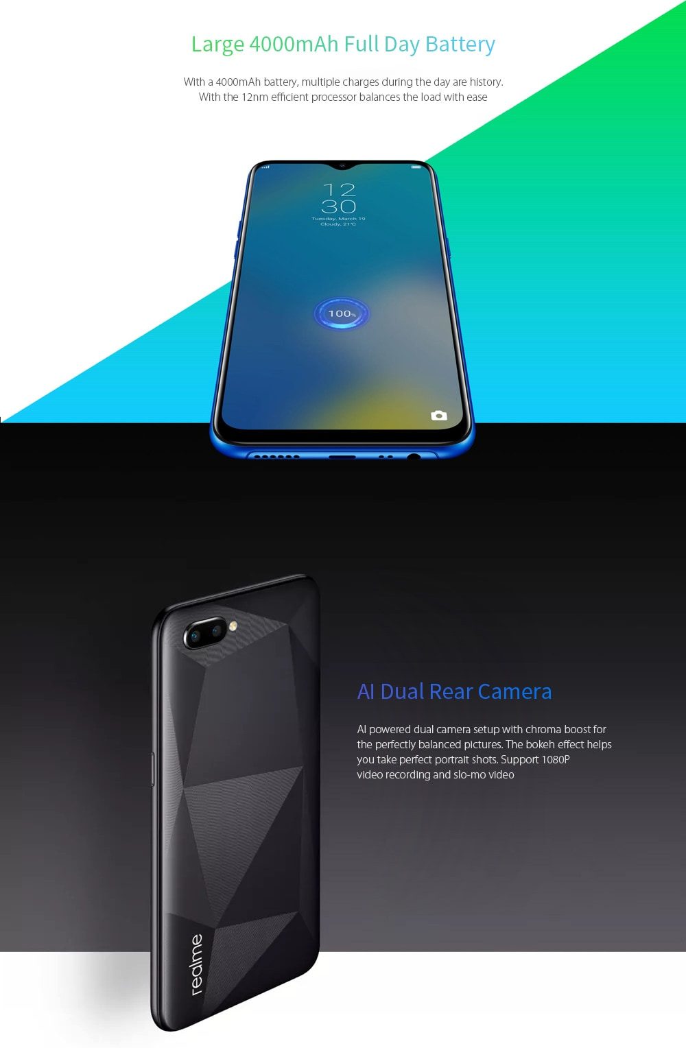 OPPO Realme C2 4G Phablet 6.1 inch Android 9.0 Helio P22 Octa Core 13.0MP + 2.0MP Rear Camera 4000mAh Battery- Black