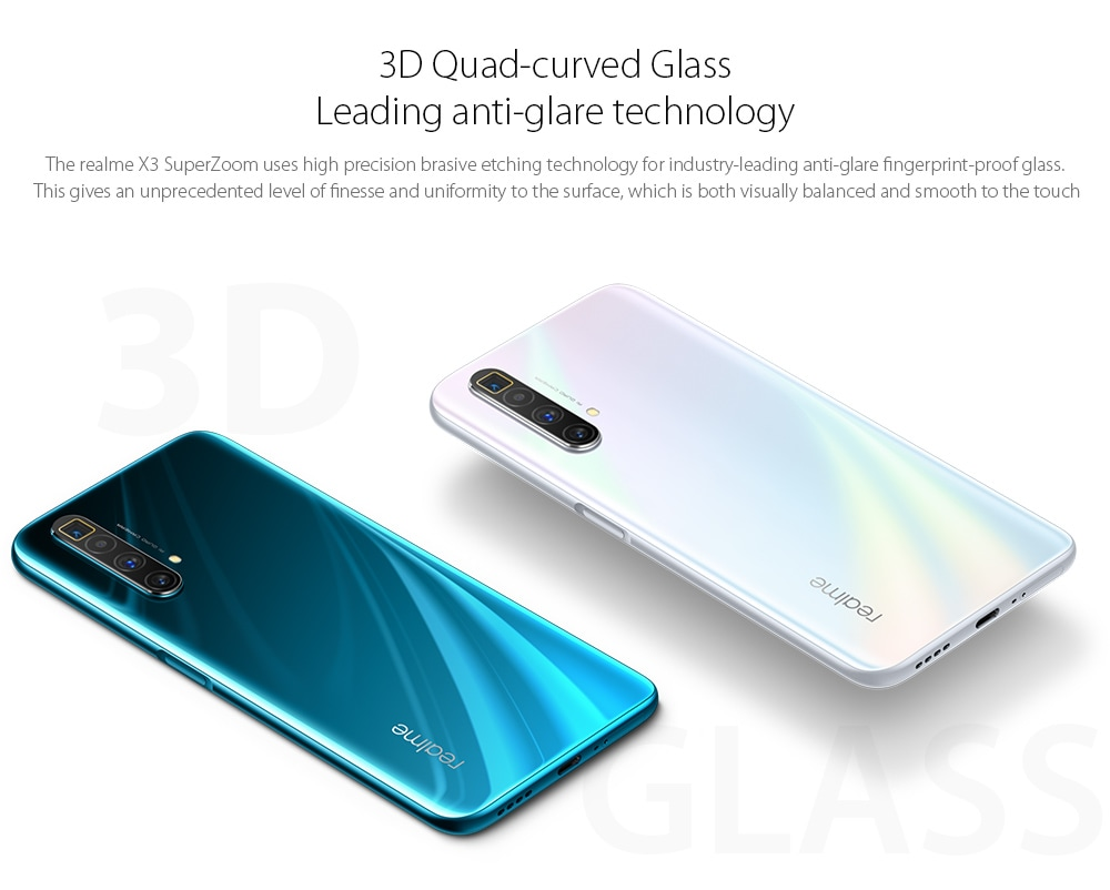 OPPO realme X3 SuperZoom 4G Smartphone 3D Quad-curved Glass, Leading anti-glare technology