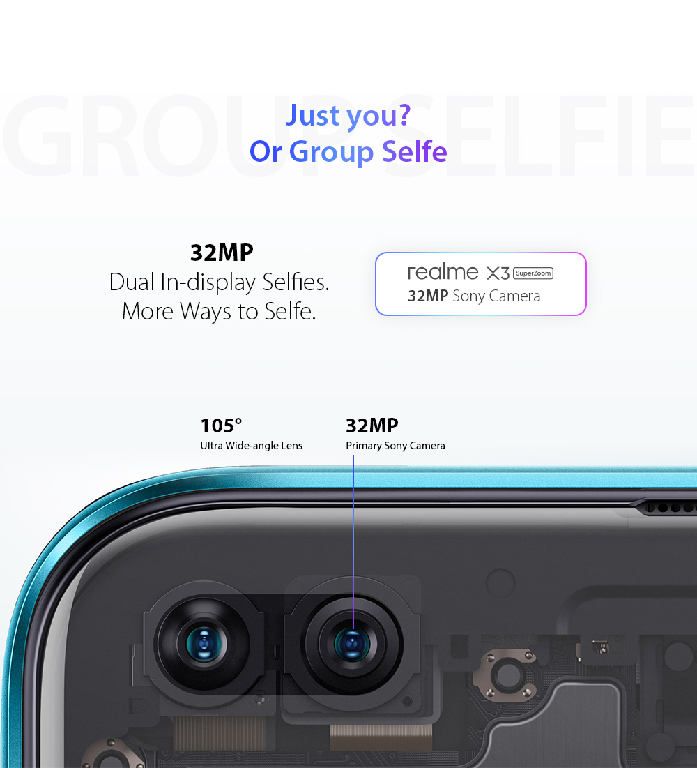 OPPO realme X3 SuperZoom 4G Smartphone 32MP Dual In-display Selfies. More Ways to Selfie