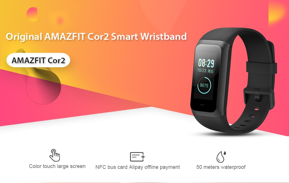 Original AMAZFIT Cor2 Smart Bracelet International Version IPS Color Screen 5ATM Waterproof Heart Rate Sport Mode Smart Watchband- Black