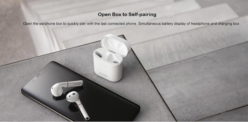 Eredeti HUAWEI FreeBuds 2 TWS vezeték nélküli Binaural Bluetooth fülhallgató Érintésvezérlés IP54 Vízálló fülek mikrofonnal és töltő dokkolóval - fehér