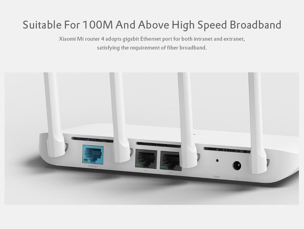 Eredeti Xiaomi Mi Router 4 Vezeték nélküli 1167Mbps / Kettős sávos Wi-Fi / Négy antenna / Dual Core- Fehér