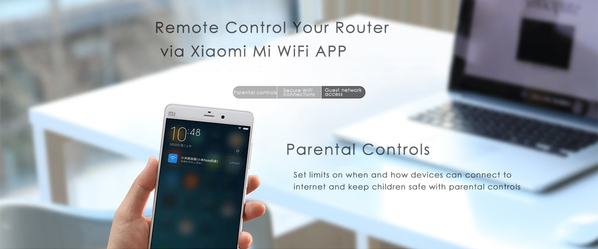 Eredeti angol verzió Xiaomi Mi WiFi router 3 1167Mbps 2,4 GHz-es 5 GHz-es kettős sáv 128 MB-os flash ROM 4 antennával - fehér 64 MB