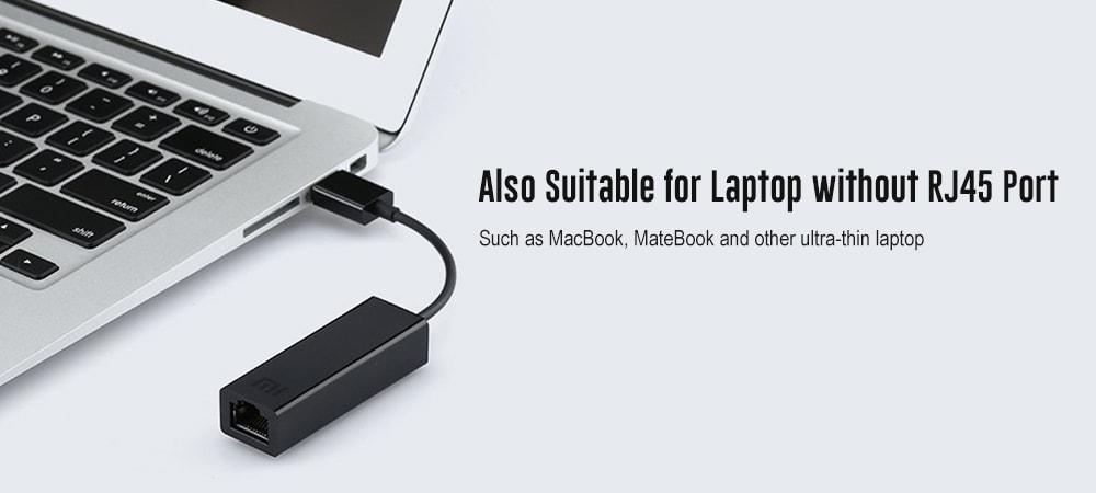 Eredeti Xiaomi USB - RJ45 külső Ethernet kábeladapter átalakító Xiaomi TV dobozhoz 3/3 továbbfejlesztett verzió / laptop - fekete