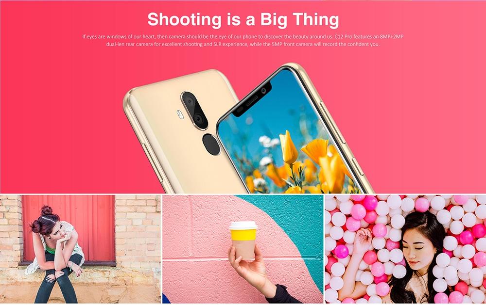 OUKITEL C12 Pro 4G Phablet 6.18 inch Android 8.1 MTK6739 Quad Core 2GB RAM 16GB ROM 8.0MP + 2.0MP Rear Camera Fingerprint Sensor 3300mAh Built-in- Black