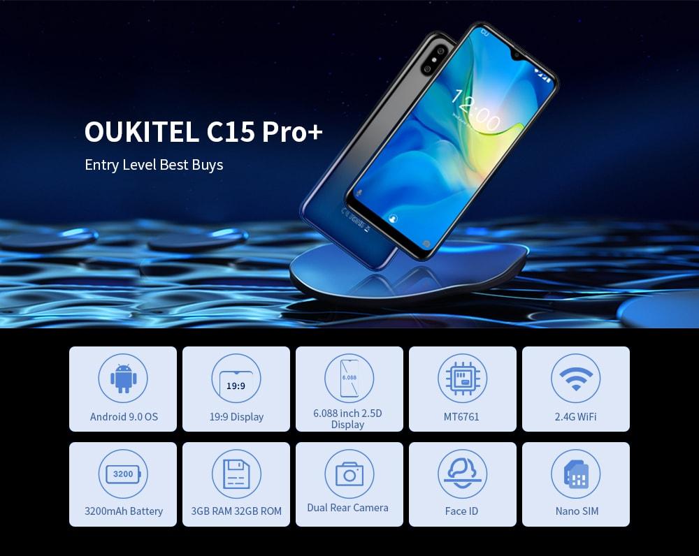 OUKITEL C15 Pro+ 4G Phablet 6.088 inch Android 9.0 MT6761 Quad Core 3GB RAM 32GB ROM 8.0MP + 2.0MP Rear Camera 3200mAh Battery Face ID- Twilight