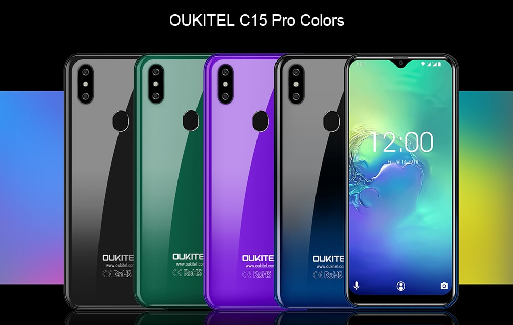OUKITEL C15 Pro 4G Phablet 6.088 inch Android 9.0 Pie MT6761 Quad Core 2.0GHz IMG GE8300 2GB RAM 16GB ROM 3 Camera Fingerprint Sensor 3200mAh Battery Built-in- Deep Blue EU Plug