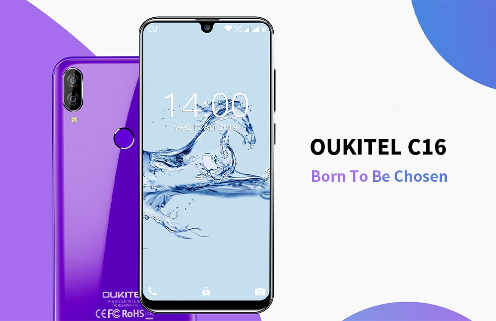 OUKITEL C16 3G Phablet 5.71 inch Android 9.0 MT6580P Quad Core 2GB RAM 16GB ROM 8.0MP + 2.0MP Rear Camera 2600mAh Battery Face ID Fingerprint Unlock- Purple