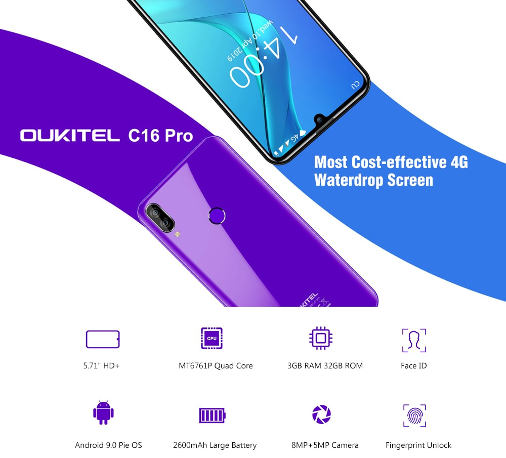 OUKITEL C16 Pro 4G Phablet 5.71 inch Waterdrop Screen Android 9.0 Pie MT6761P Quad Core 3GB RAM 32GB ROM 8.0MP + 2.0MP Rear Camera 2600mAh Battery Face ID Fingerprint Unlock- Purple Flower