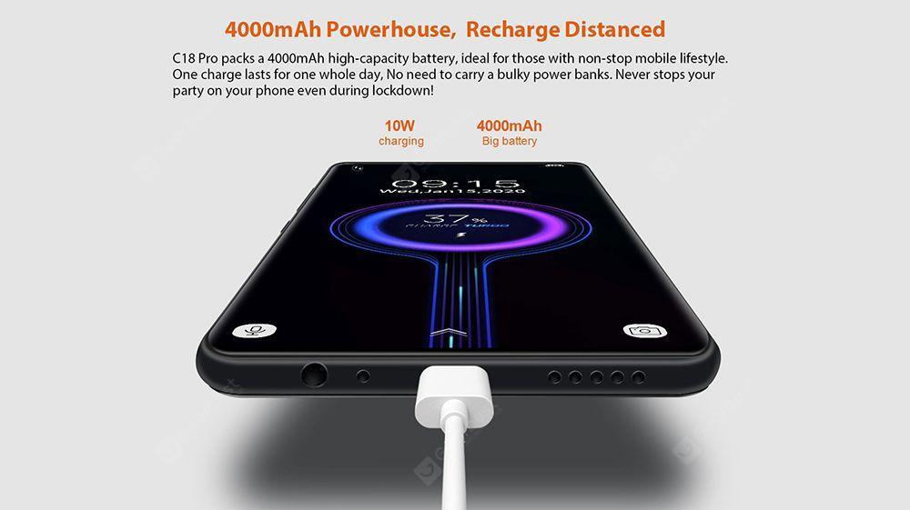 Oukitel C18 Pro 4G Smartphone Helio P25 MT6757 6.55 Inch Android 9.0 Rear Camera 16M + 2M + 8M + 5M Battery 4000mAh Global Version - Purple