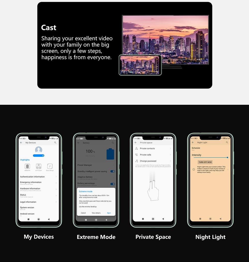 Oukitel C22 4G SmartPhone 4 GB RAM 128 ROM 13MP háromszoros fényképezőgép, könnyű, 2,5D üveg hátlap, 1,8 GHz, 4000 mAh, eredeti nemzetközi kiadás - halványkék liliom észak- és dél-amerikai változat
