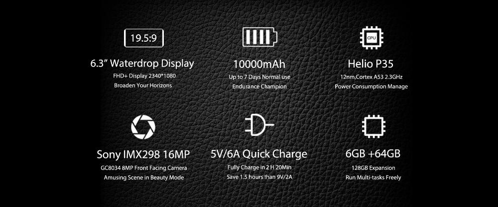 OUKITEL K12 4G Phablet 6.3 inch Water Drop Screen Android 9.0 6GB RAM 64GB ROM 16MP + 2MP Rear Camera 10000mAh Battery   - Black