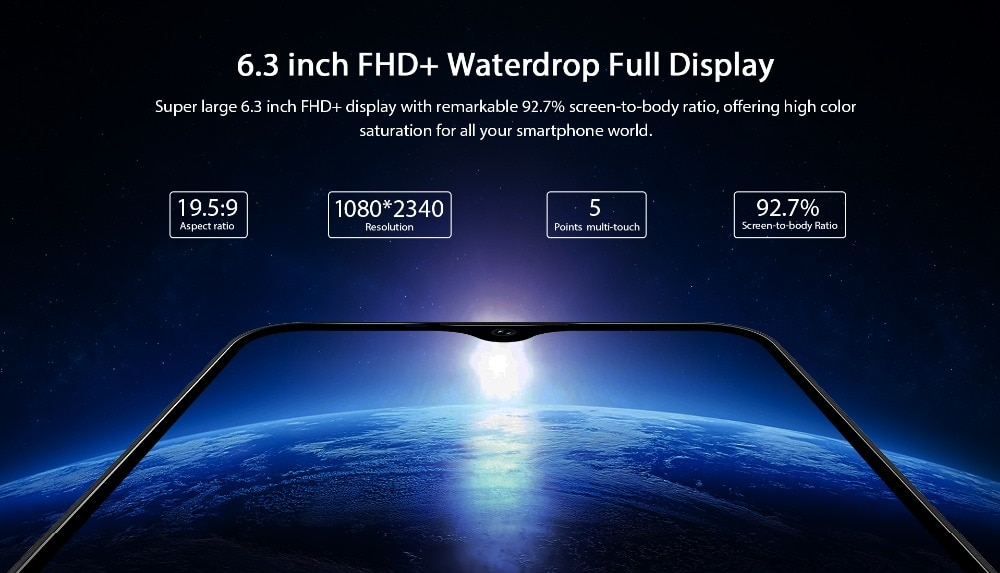 OUKITEL K12 4G Phablet 6.3 inch Water Drop Screen Android 9.0 6GB RAM 64GB ROM 16MP + 2MP Rear Camera 10000mAh Battery   - Black