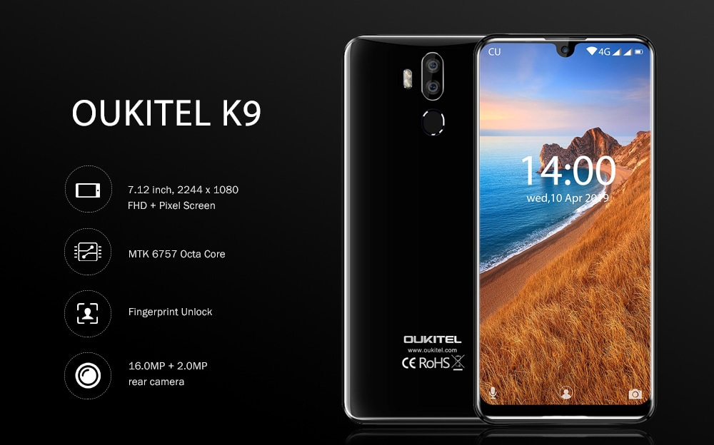 OUKITEL K9 4G Phablet 7.12 inch Android 9.0 MTK 6757 Octa Core 2.3GHz 4GB RAM 64GB ROM 16.0MP + 2.0MP Rear Camera Fingerprint Sensor 6000mAh Built-in  - Black