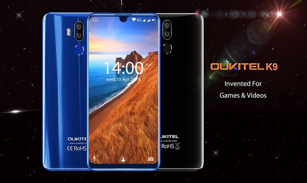 OUKITEL K9 4G Phablet 7.12 inch Android 9.0 MTK 6765 Octa Core 2.3GHz 4GB RAM 64GB ROM 16.0MP + 2.0MP Rear Camera Fingerprint Sensor 6000mAh Built-in   - Black