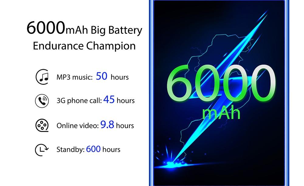 OUKITEL K9 4G Phablet 7.12 inch Android 9.0 MTK 6765 Octa Core 2.3GHz 4GB RAM 64GB ROM 16.0MP + 2.0MP Rear Camera Fingerprint Sensor 6000mAh Built-in   - Blue