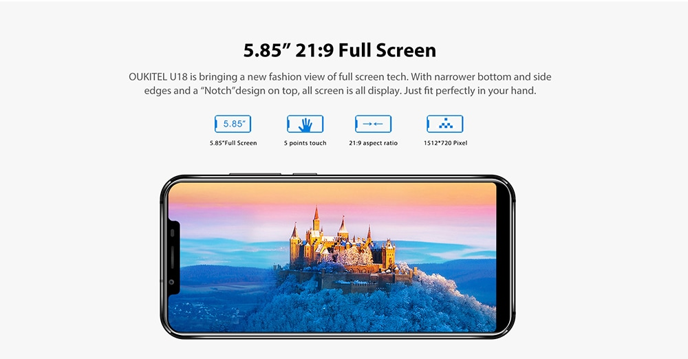OUKITEL U18 4G Phablet 5.85 inch Android 7.0 MTK6750T Octa Core 1.5GHz 4GB RAM 64GB ROM 4000mAh Battery Dual Rear Cameras Fingerprint Recognition- Golden