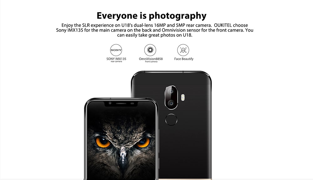 OUKITEL U18 4G Phablet 5.85 inch Android 7.0 MTK6750T Octa Core 1.5GHz 4GB RAM 64GB ROM 4000mAh Battery Dual Rear Cameras Fingerprint Recognition- Black