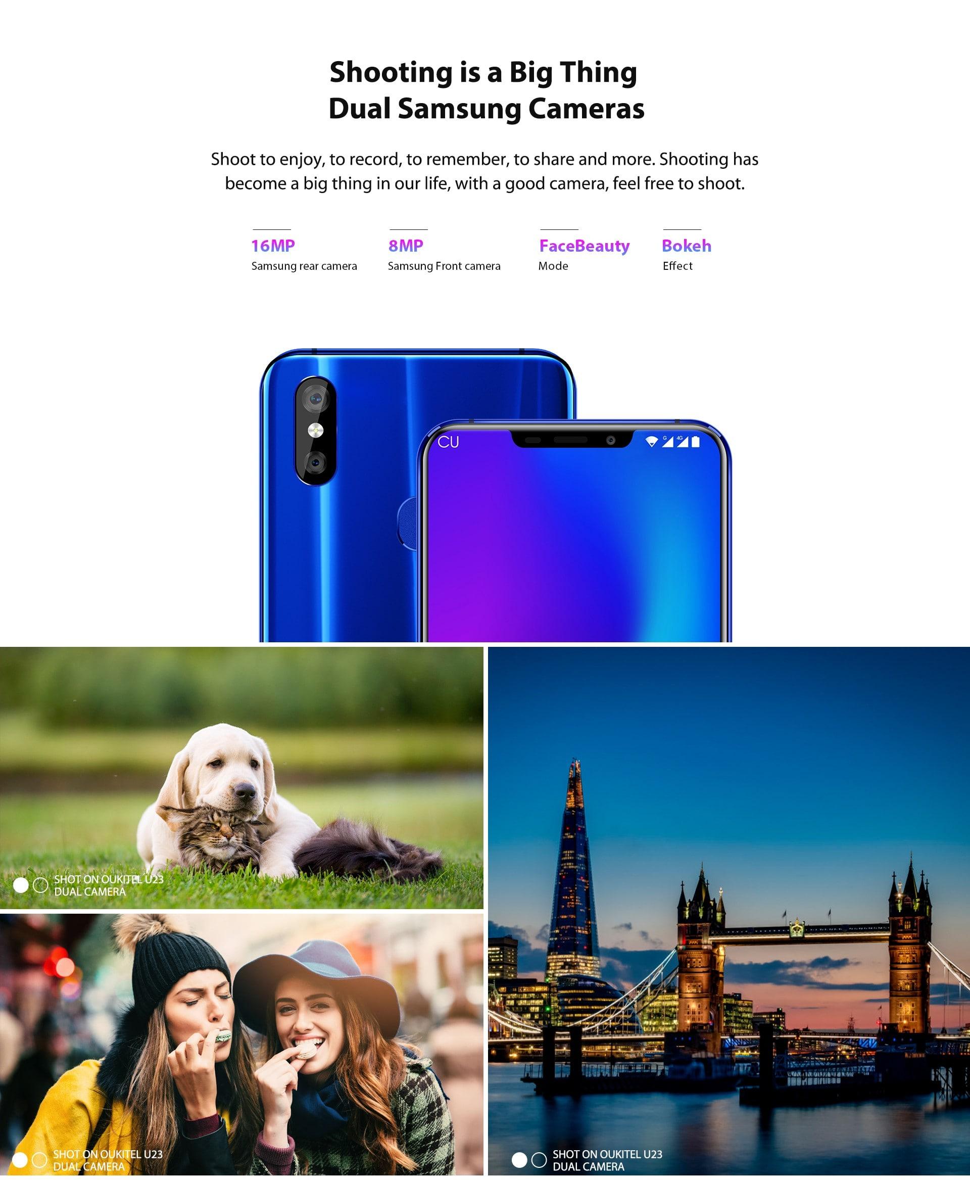OUKITEL U23 4G Phablet 6.18 hüvelykes Android 8.1 MTK 6763T Octa Core 2.0 GHz 6 GB RAM 64 GB ROM 16.0 MP + 2.0 MP Hátsó kamera 8.0 MP Első kamera 3500mAh Beépített Twilight Other Area