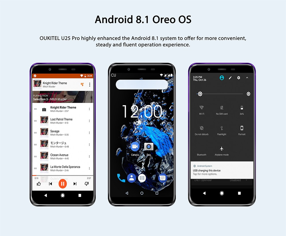 OUKITEL U25 Pro 4G Phablet 5.5 inch Android 8.1 MTK6750T Octa Core 1.5GHz 4GB RAM 64GB ROM 13.0MP Rear Camera Fingerprint Unlock 3200mAh Built-in- Twilight