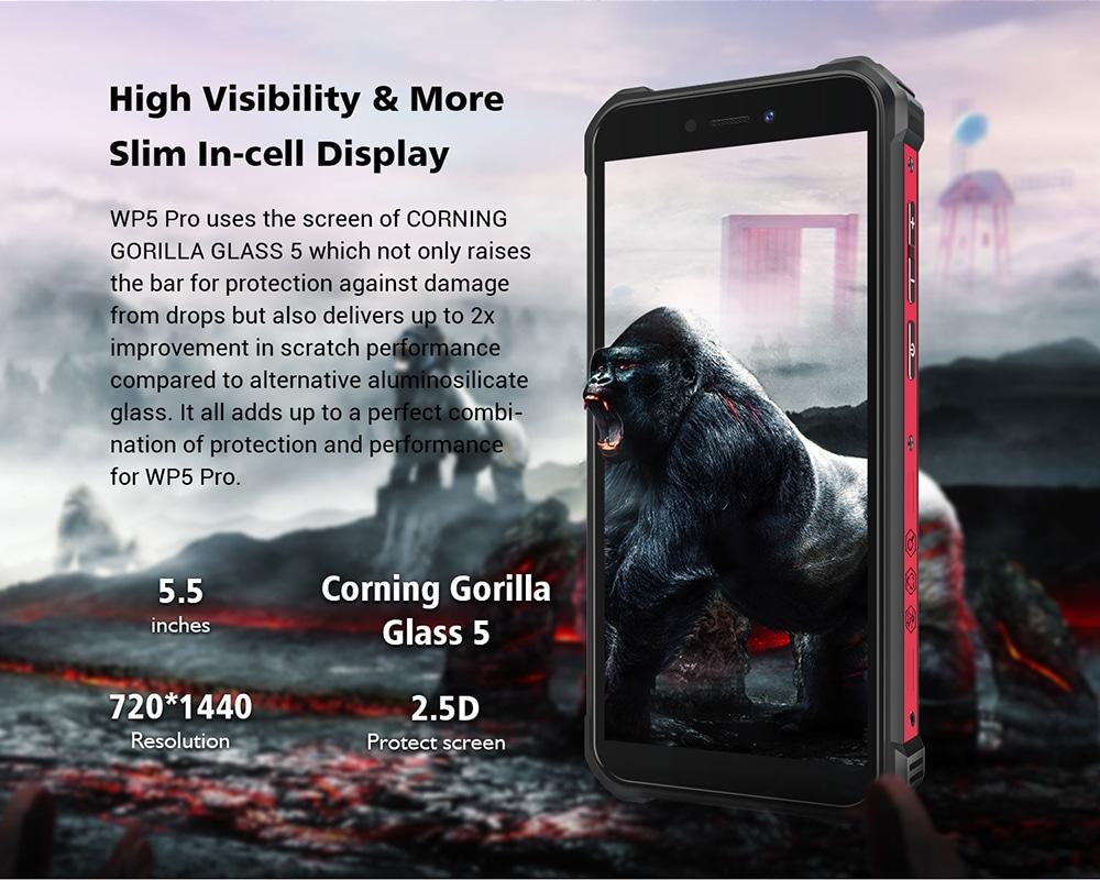 OUKITEL WP5 Pro 4G Smartphone 5.5 inch 13MP + 2MP + 2MP Rear Camera Android 10 4GB RAM 64GB ROM 8000mAh Battery IP68 And IP69K Waterproof Global Version - Black