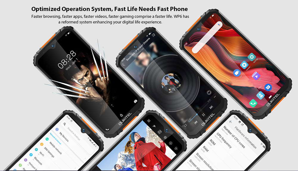 OUKITEL WP6 48MP+ 5MP+0.3MP Rear Camera  16MP Front Camera Phone 6.3 inch 4G Smartphone Original Global Version with Android 9.0 6GB RAM 128GB ROM IP68 Waterproof - Black High Edition