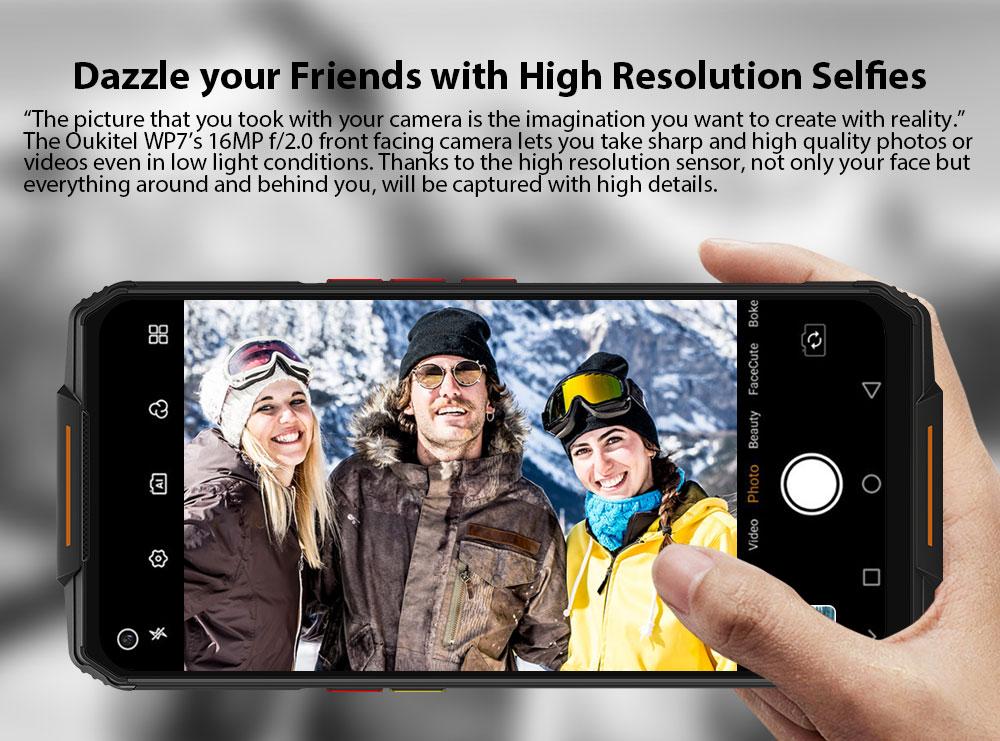 OUKITEL WP7 4G Smartphone MediaTek Helio P90 6.53 inch 48M + 8M + 2M Rear Camera 16MP Front Camera Android 9.0 8GB RAM 128GB ROM 8000mAh Battery IP68 Waterproof Global Version - Black