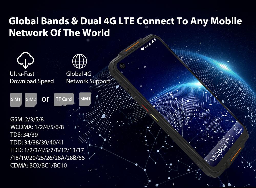 OUKITEL WP7 4G Smartphone MediaTek Helio P90 6.53 inch 48M + 8M + 2M Rear Camera 16MP Front Camera Android 9.0 8GB RAM 128GB ROM 8000mAh Battery IP68 Waterproof Global Version - Orange WP7 Super Bundle