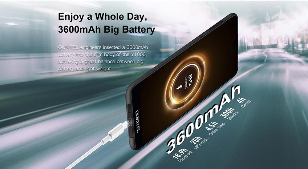 OUKITEL Y1000 3G Phablet 2GB RAM 32GB ROM- Black