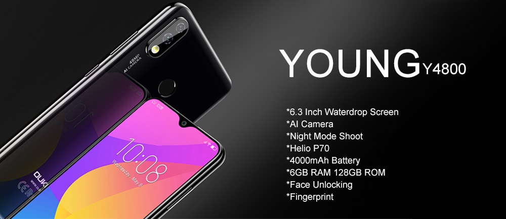 OUKITEL Y4800 4G Phablet 6.3 inch Full Screen Helio P70 Octa Core 6GB RAM 128GB ROM 48.0MP + 5.0MP Rear Camera 4000mAh Battery- Black