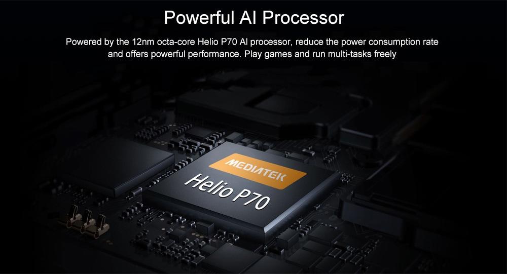 OUKITEL Y4800 4G Phablet 6.3 inch Full Screen Helio P70 Octa Core 6GB RAM 128GB ROM 48.0MP + 5.0MP Rear Camera 4000mAh Battery- Black