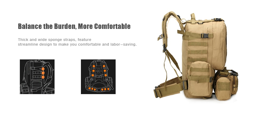 Outlife Outdoor 50L MOLLE Military Camping Hiking Backpack- Khaki