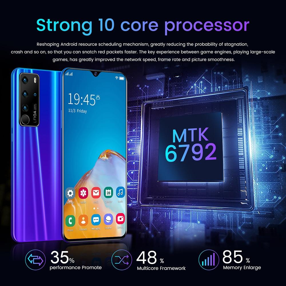 P47 okostelefon MTK6792 6,7 hüvelykes 2 GB RAM 32 GB-os ROM Android 6.0 13MP 24MP-os kamerák 4800mah akkumulátoros arcazonosító - kék amerikai dugó (2 tűs)