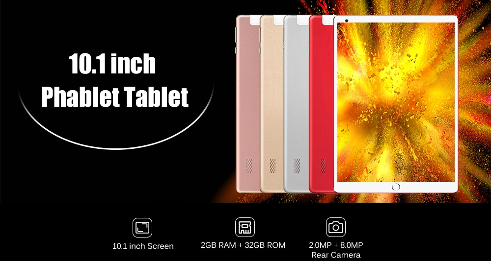 10.1 inch Phablet Tablet PC Android 7.1 MTK6582 Quad Core 1.3GHz 2GB RAM 32GB ROM- Red EU Plug