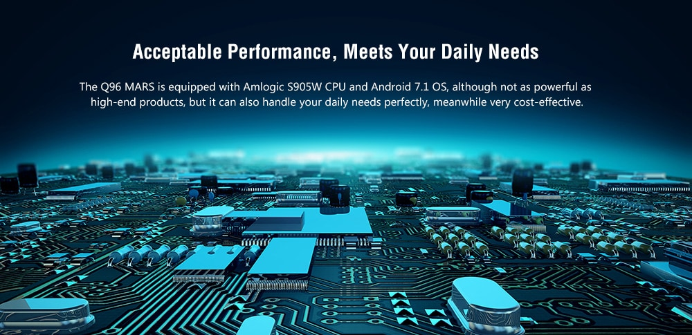 Q96 MARS intelligens TV Box Amlogic S905W / Android 7.1 / 1 GB RAM + 8 GB EMMC / 2.4GHz WiFi / 100Mbps / H.264 / H.265 / Támogatja a 4K 60fps-t - Fekete 1 GB RAM + 8 GB EMMC EU Plug