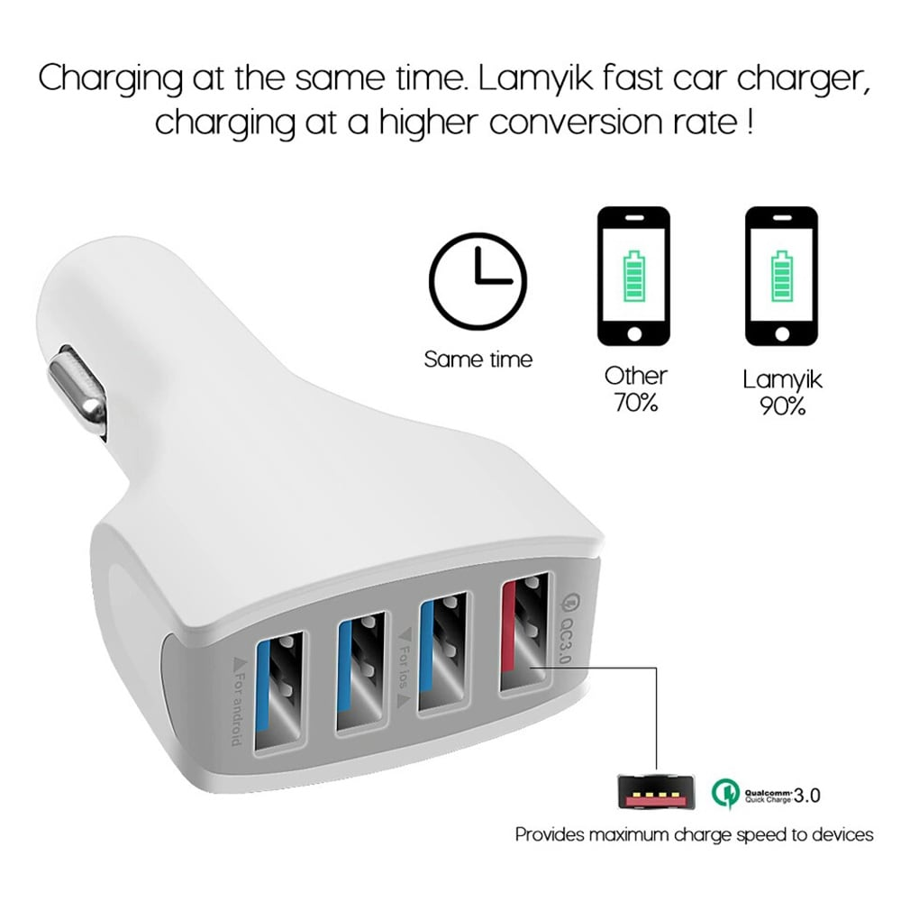 QC 3.0 Gyors autós töltés 4 USB multifunkciós autós töltő nagy teljesítményű autófehér