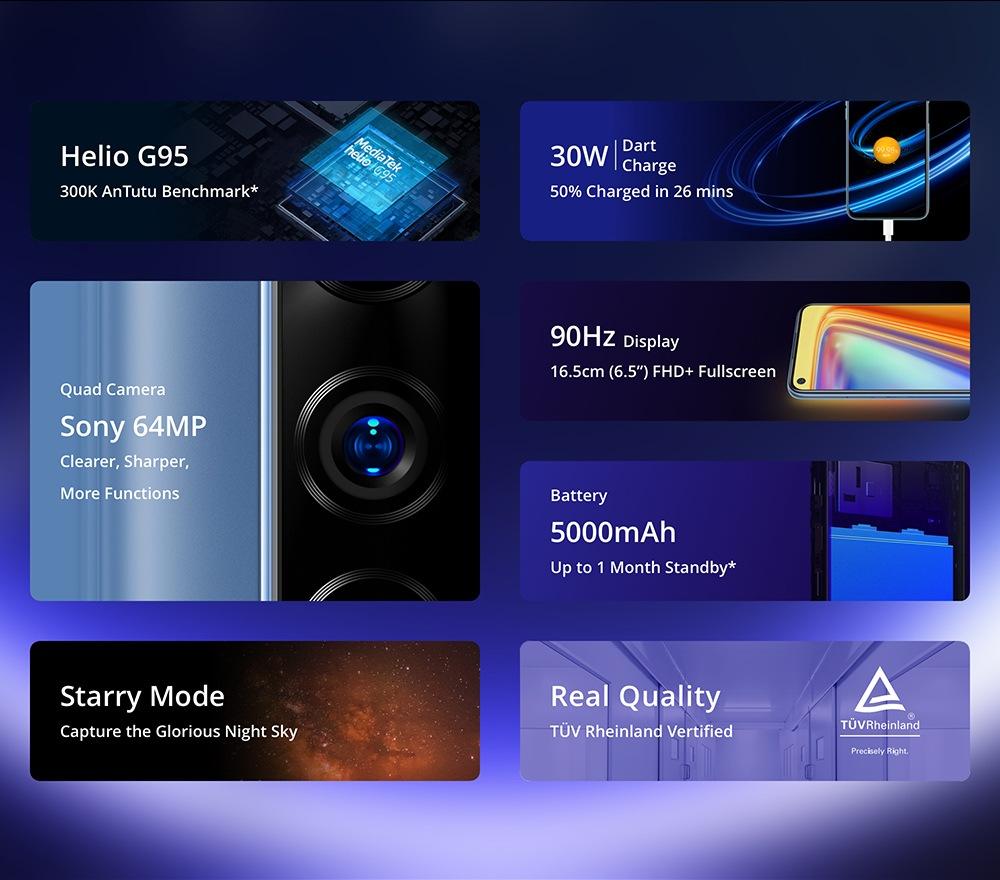 Realme 7 okostelefon 6,5 hüvelykes FHD kijelző, 90 Hz-es frissítési gyakoriság Helio G95 játékprocesszor NFC 8 GB-os 128 GB-os 48MP-os AI négykamerás Octa Core 5000mA 30W-os Dart töltés - fehér