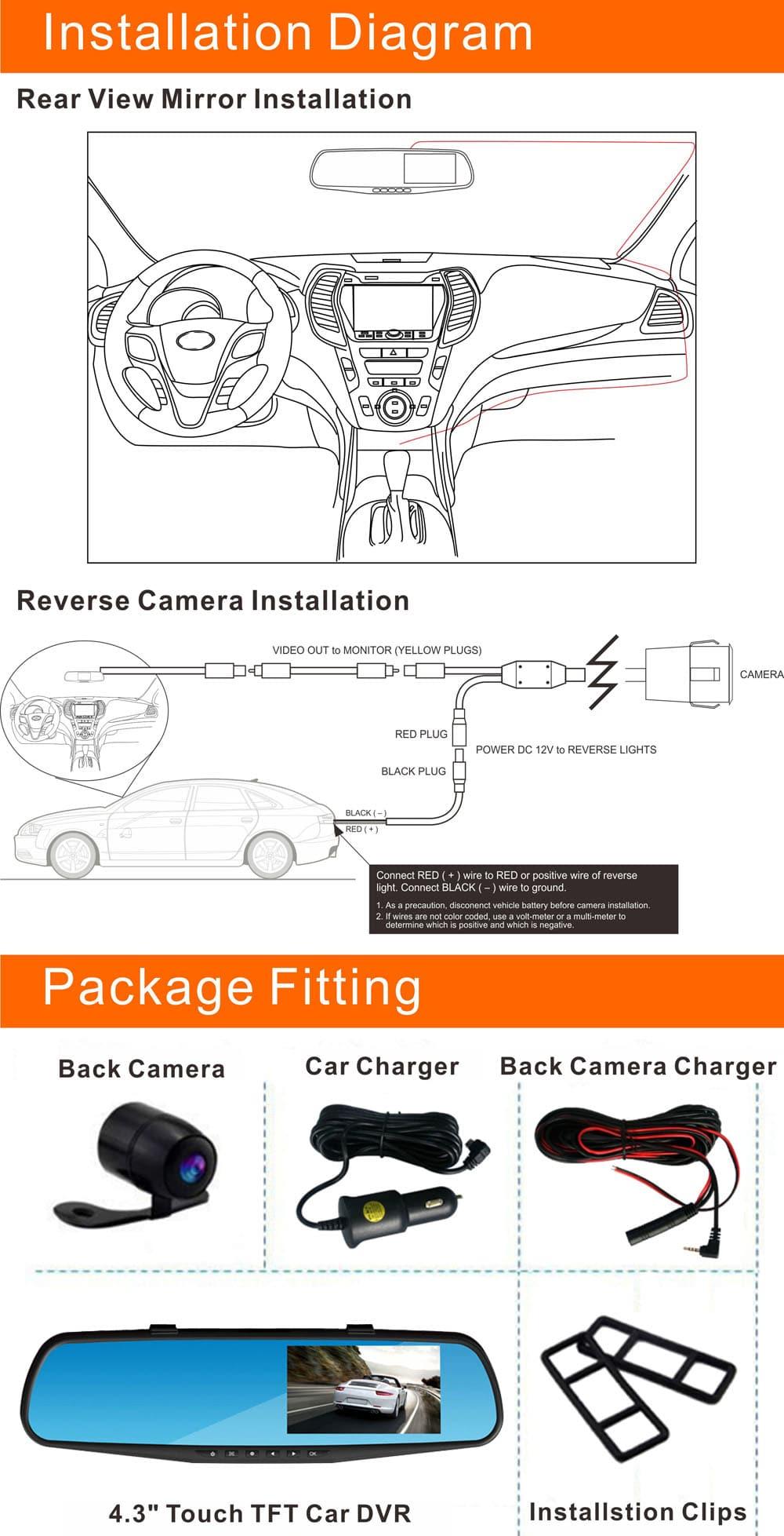 RM-LC2010 1080P Full HD 30W pixel 170 fokos széles szögű autó visszapillantó tükör hátsó kamera-monitor DVR hurokciklus rögzítése parkolásfigyelés mozgásérzékelés - kék és fekete